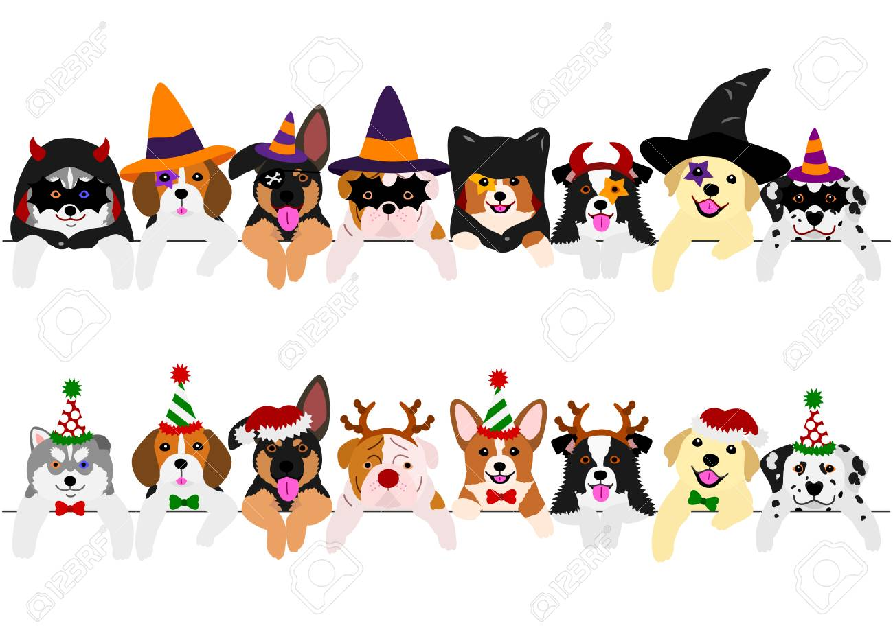 with Halloween costumes and with Christmas costumes, cute pups border set - 108235547