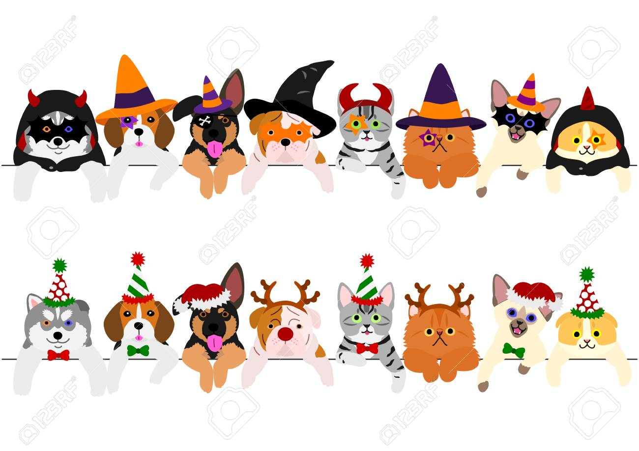 Halloween Thanksgiving Christmas Clipart.Cute Puppies And Kitties Border Set With Halloween Costumes And