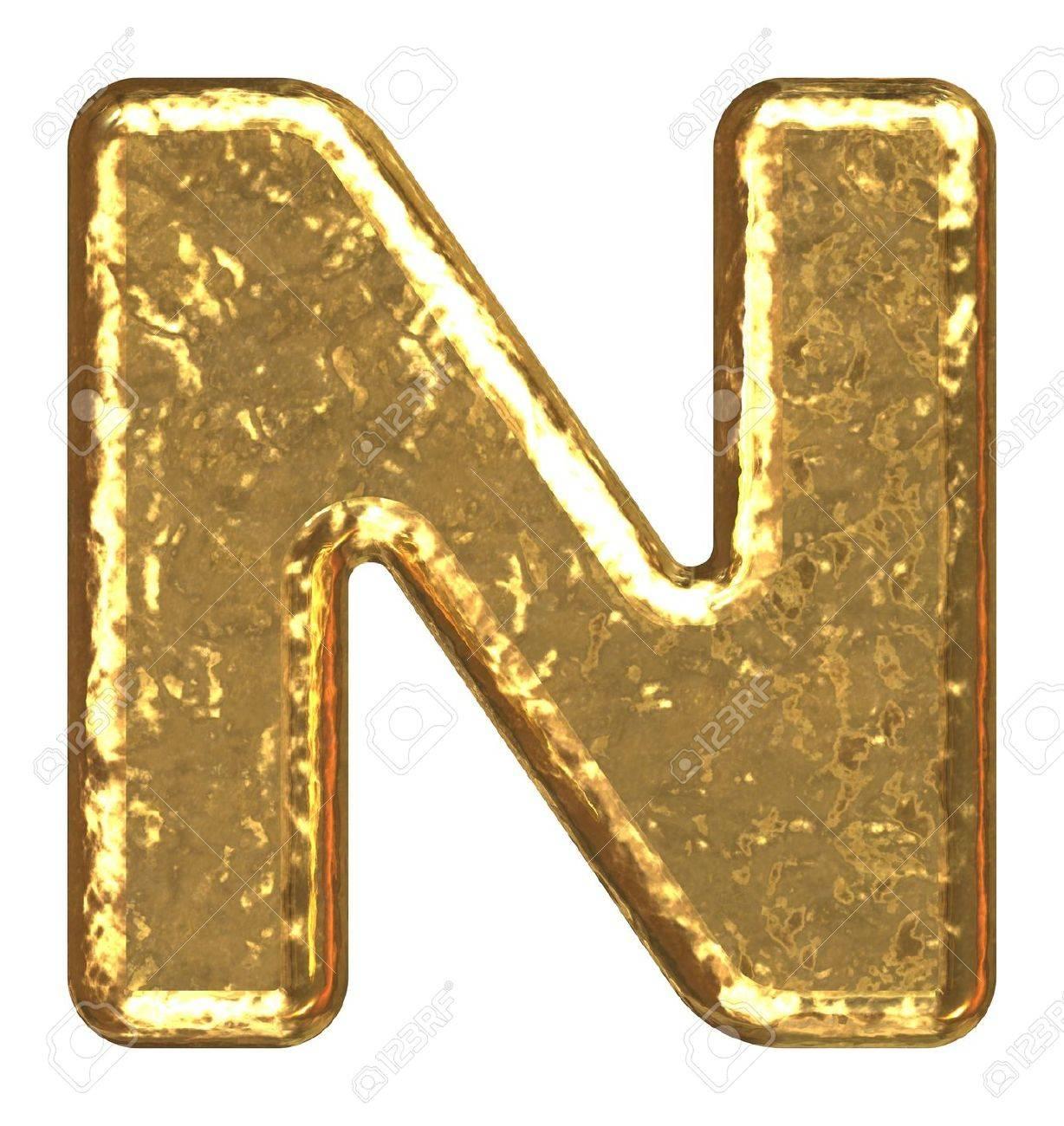 Golden font. Letter N. Stock Photo - 5648681