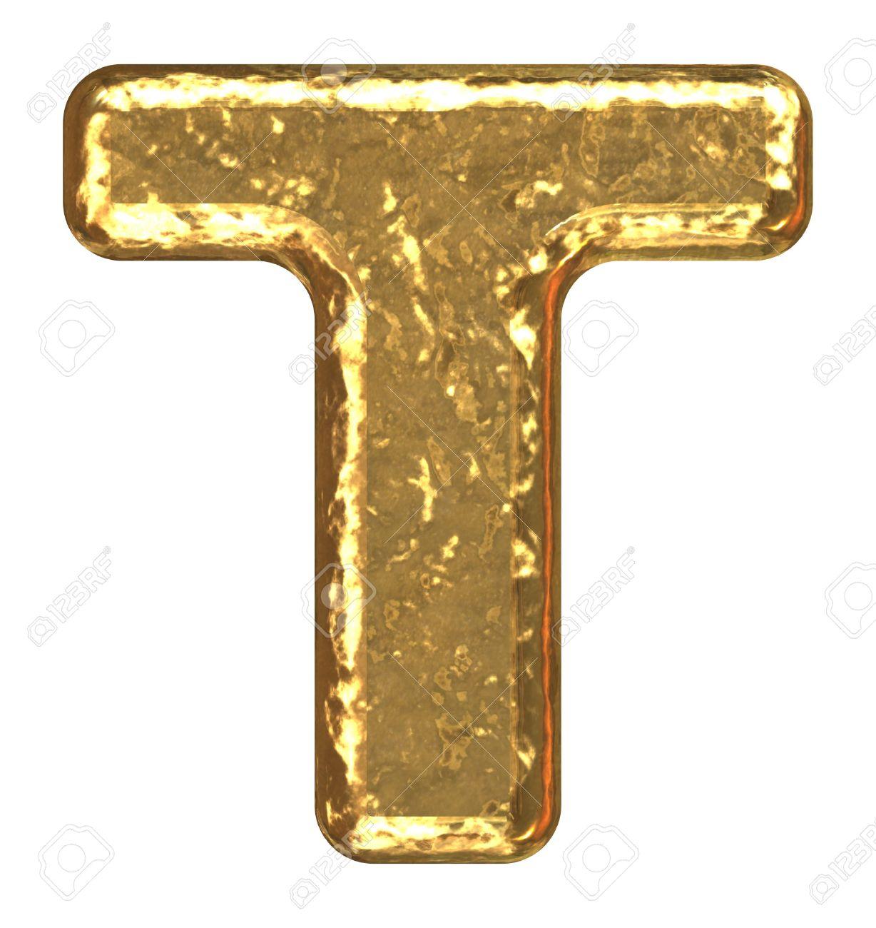 Golden font. Letter T. Stock Photo - 5648669