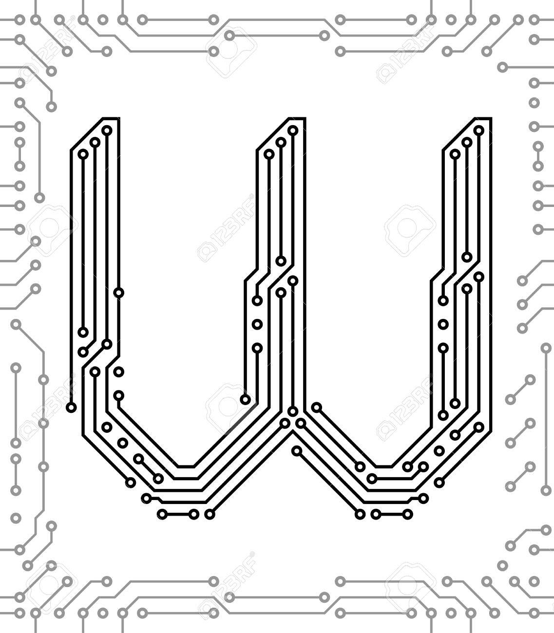 Alphabet Of Printed Circuit Boards. Easy To Edit. Capital Letter ...