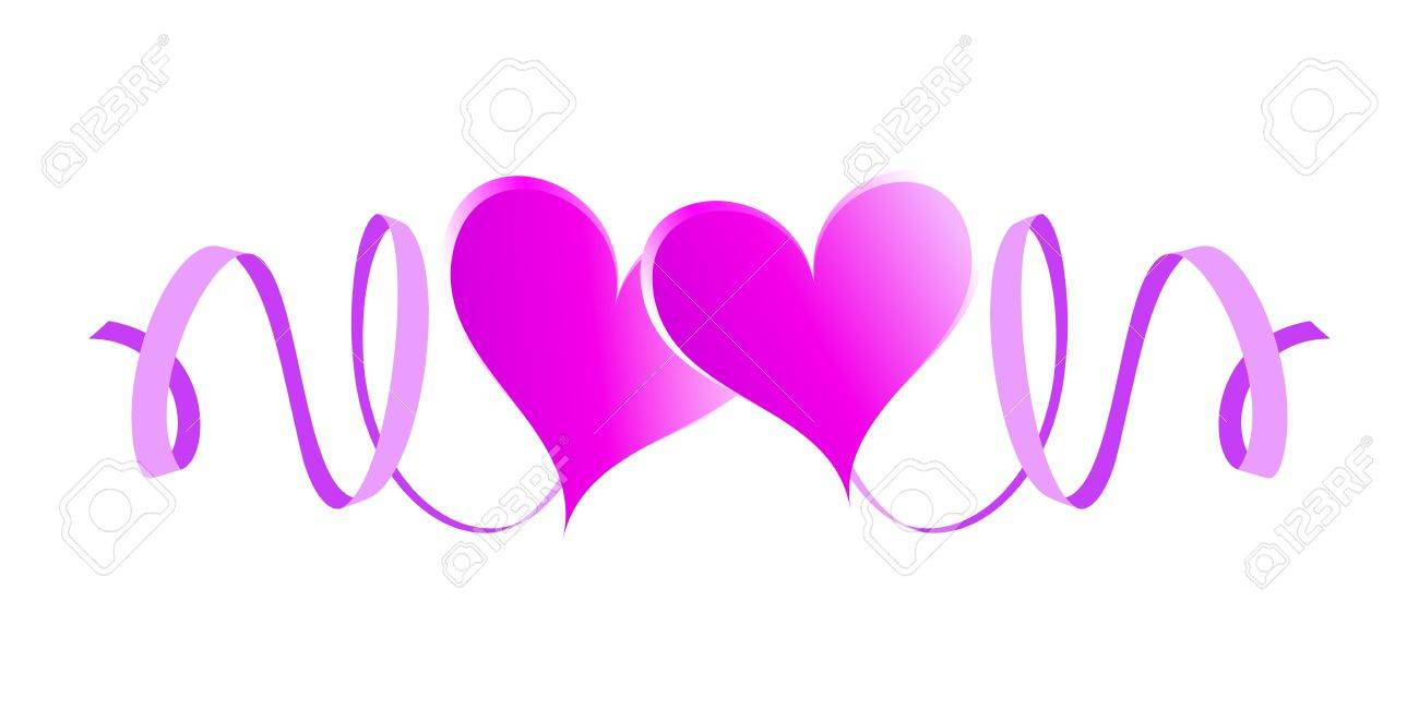 Two enamored hearts with ribbons  Pink design element Stock Vector - 17756335
