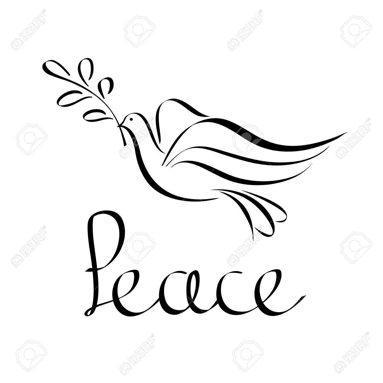 Peace Icon Abstract Silhouette Of A Flying Dove With An Olive Royalty Free Cliparts Vectors And Stock Illustration Image 53862417