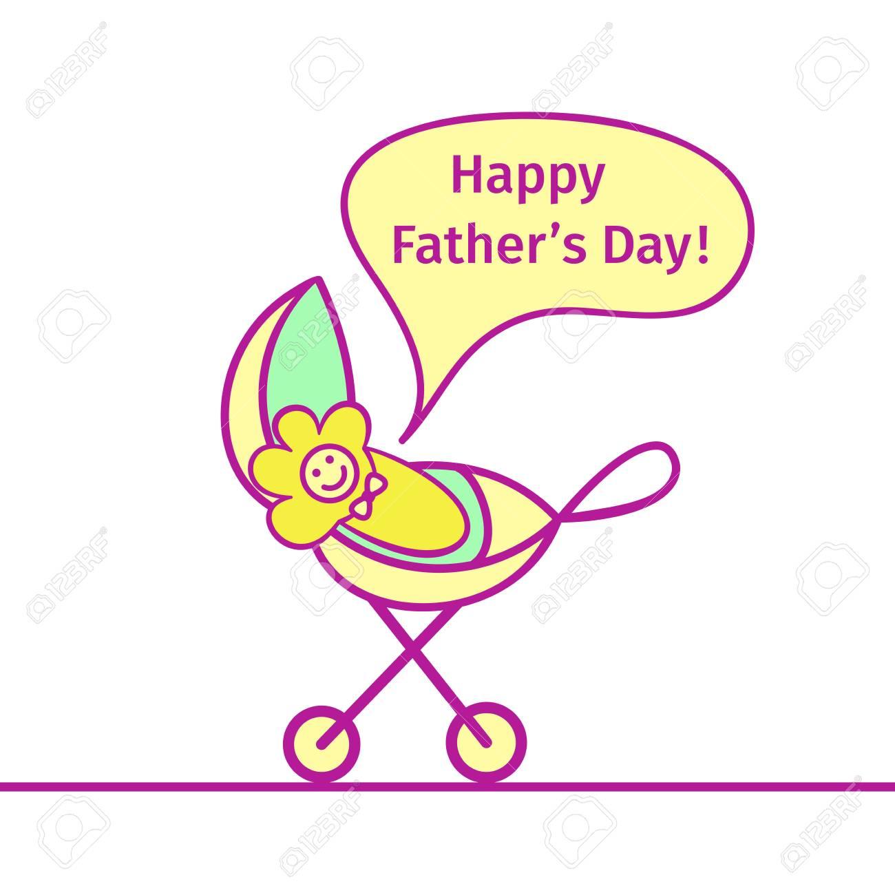 Bebe En El Carruaje Grita Feliz Dia De Padre Dibujo En Estilo De