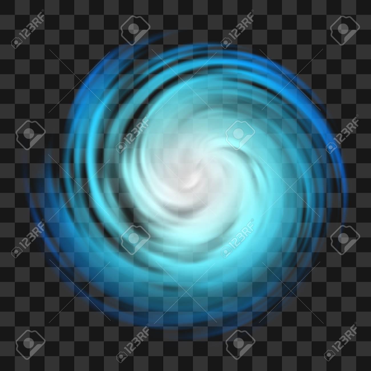 Blue hurricane symbol, tornado, typhoon, white swirl clouds, twister on dark transparent background, top view. Danger cyclone vector illustration, icon, logo, web infographic - 108161686