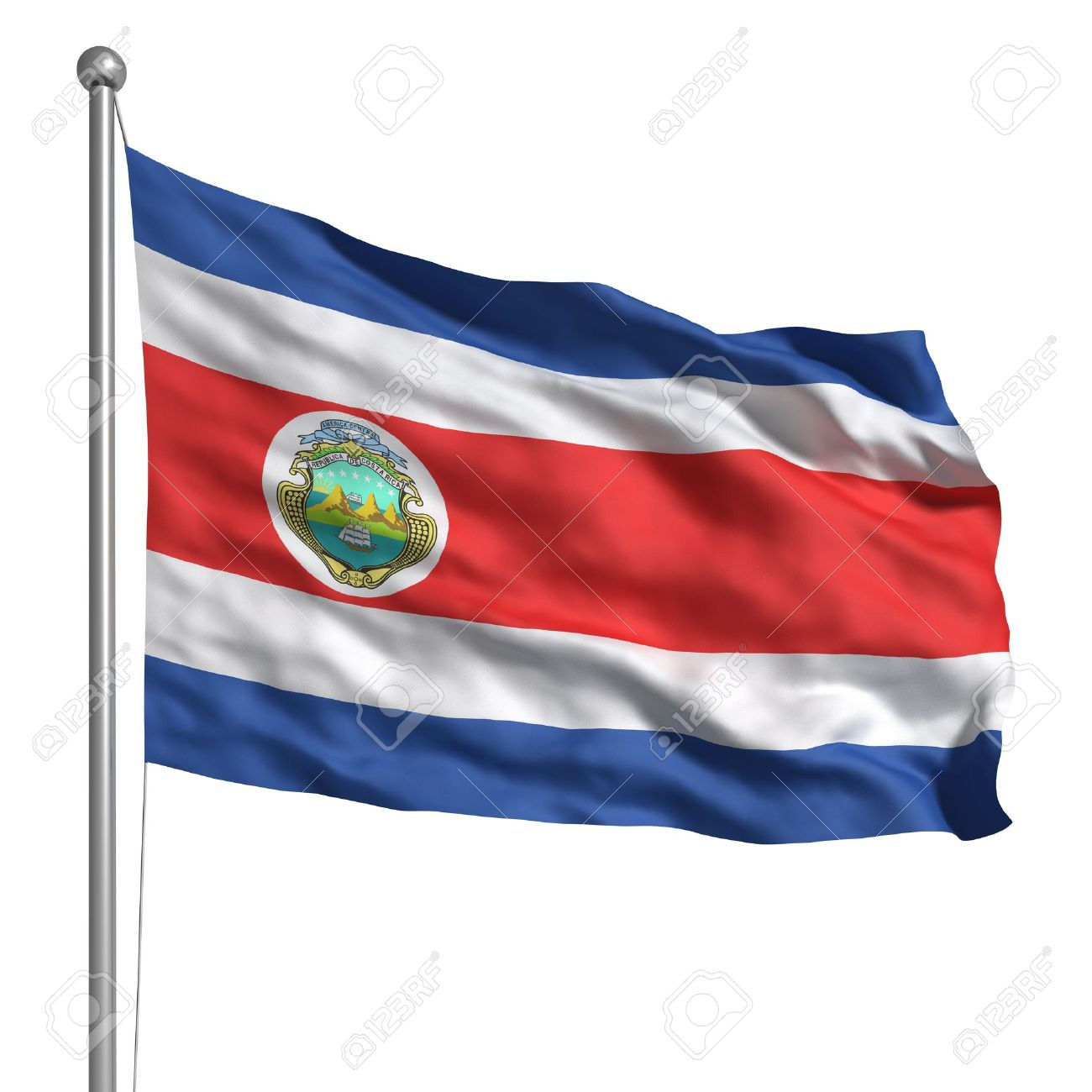 flag of costa rica isolated stock photo picture and royalty free