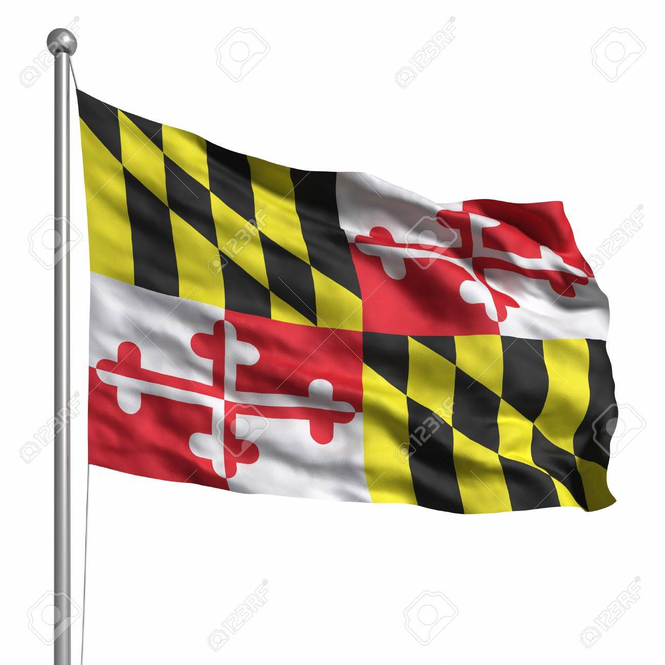 Flag of Maryland. Rendered with fabric texture (visible at 100%). Clipping path included. Stock Photo - 10033842