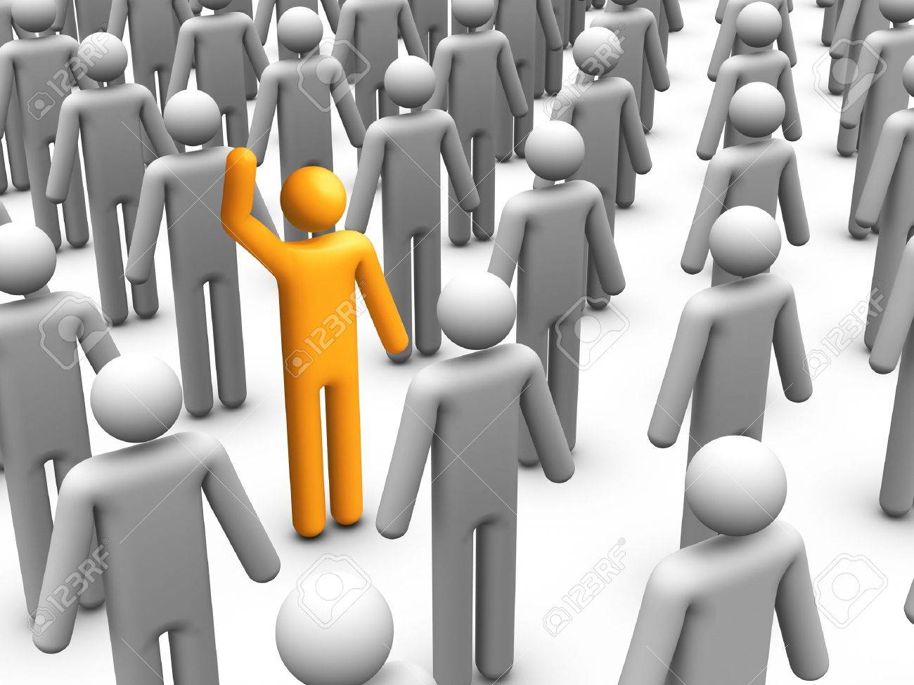 3d stick figure standing out from Crowd Stock Photo - 10033950