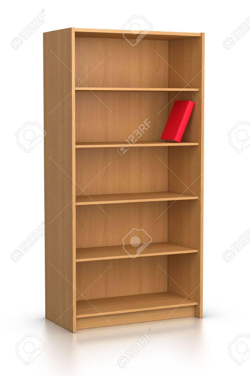 Red Book In Empty Bookshelf Stock Photo