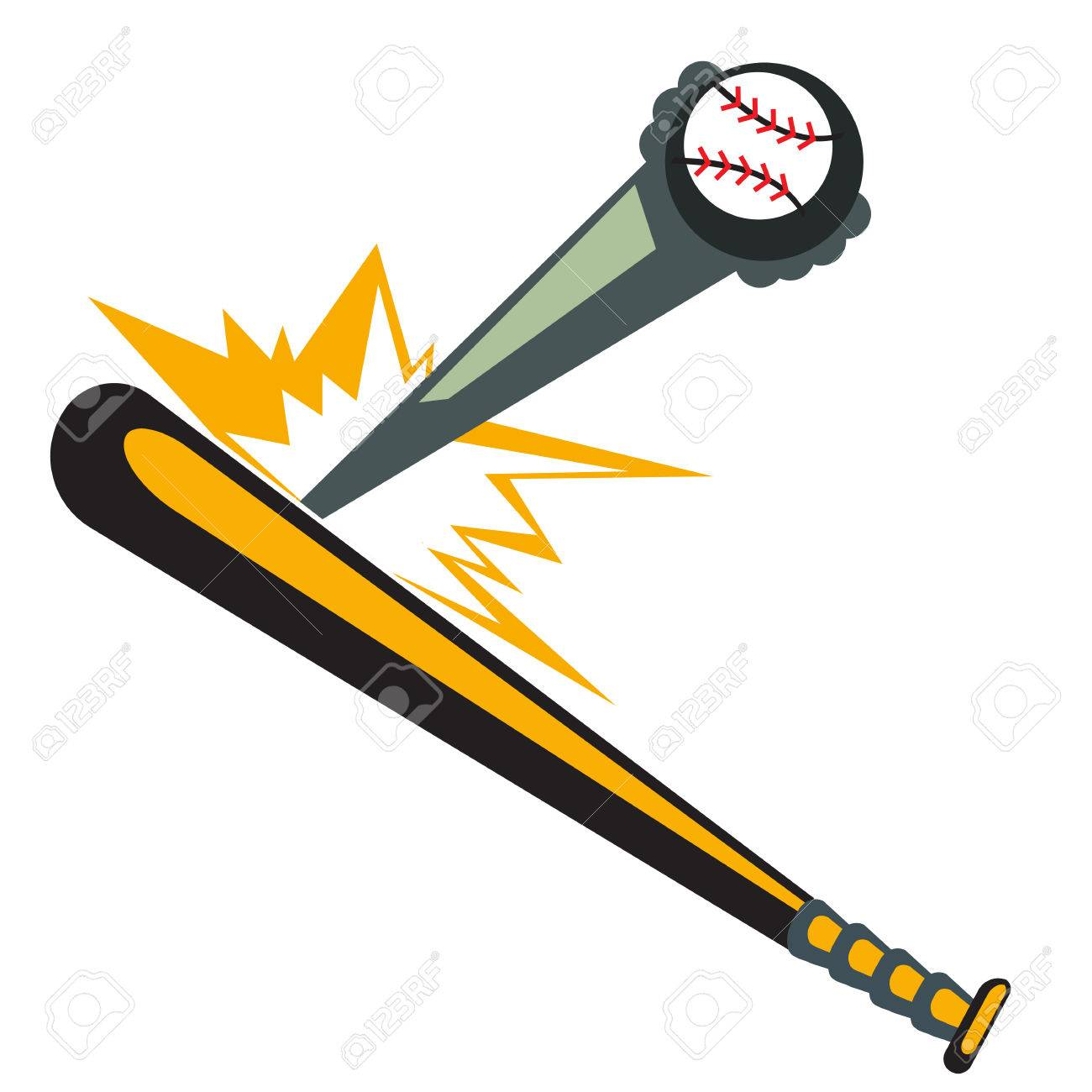 Baseball Bat Hitting The Ball Illustration Vector Royalty Free