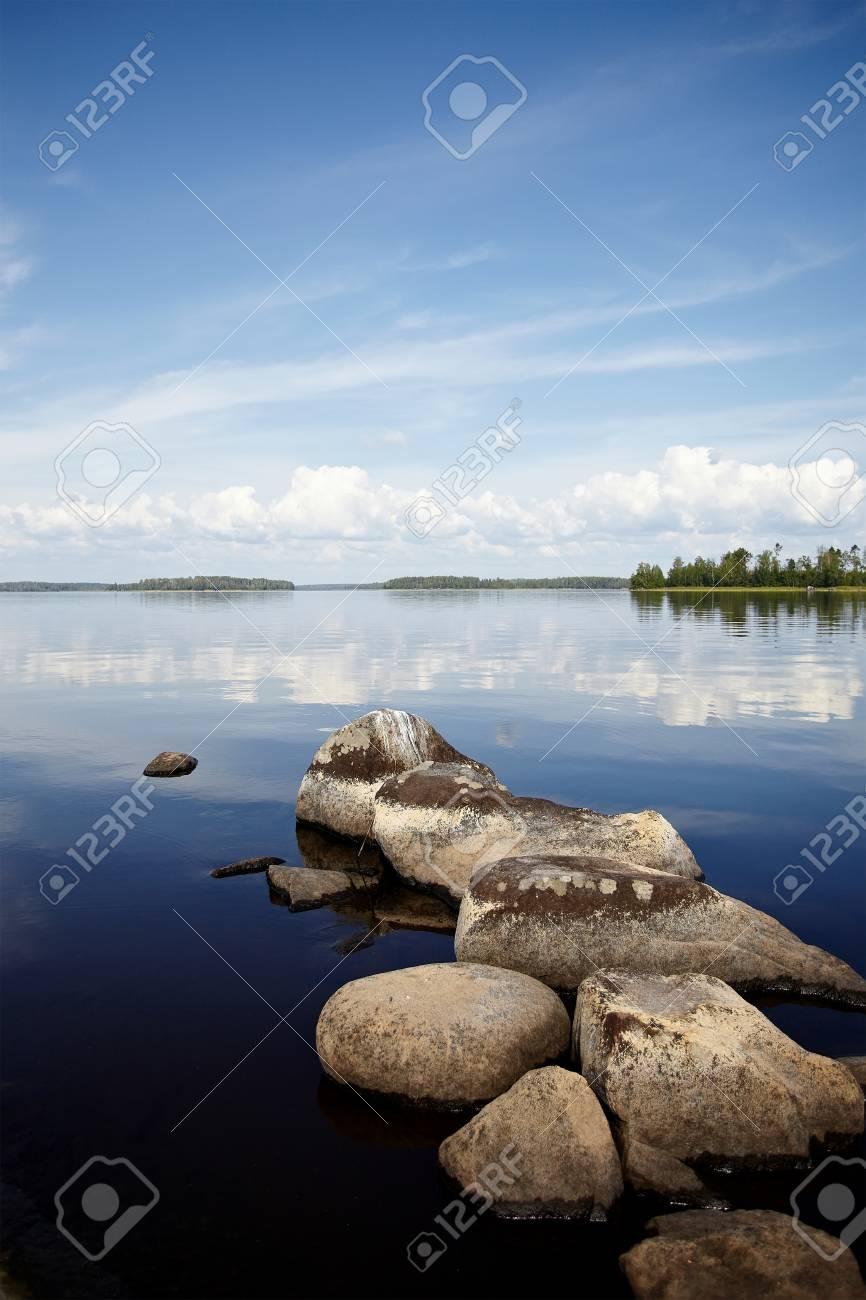 Wasserlandschaft Mit Steinen Steine Im Wasser Der See Mit