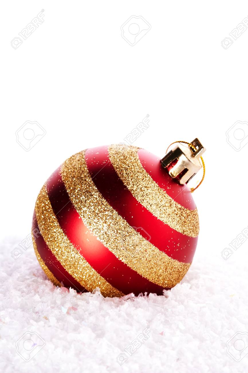 new years striped ball on snow new years red ball christmas ball christmas