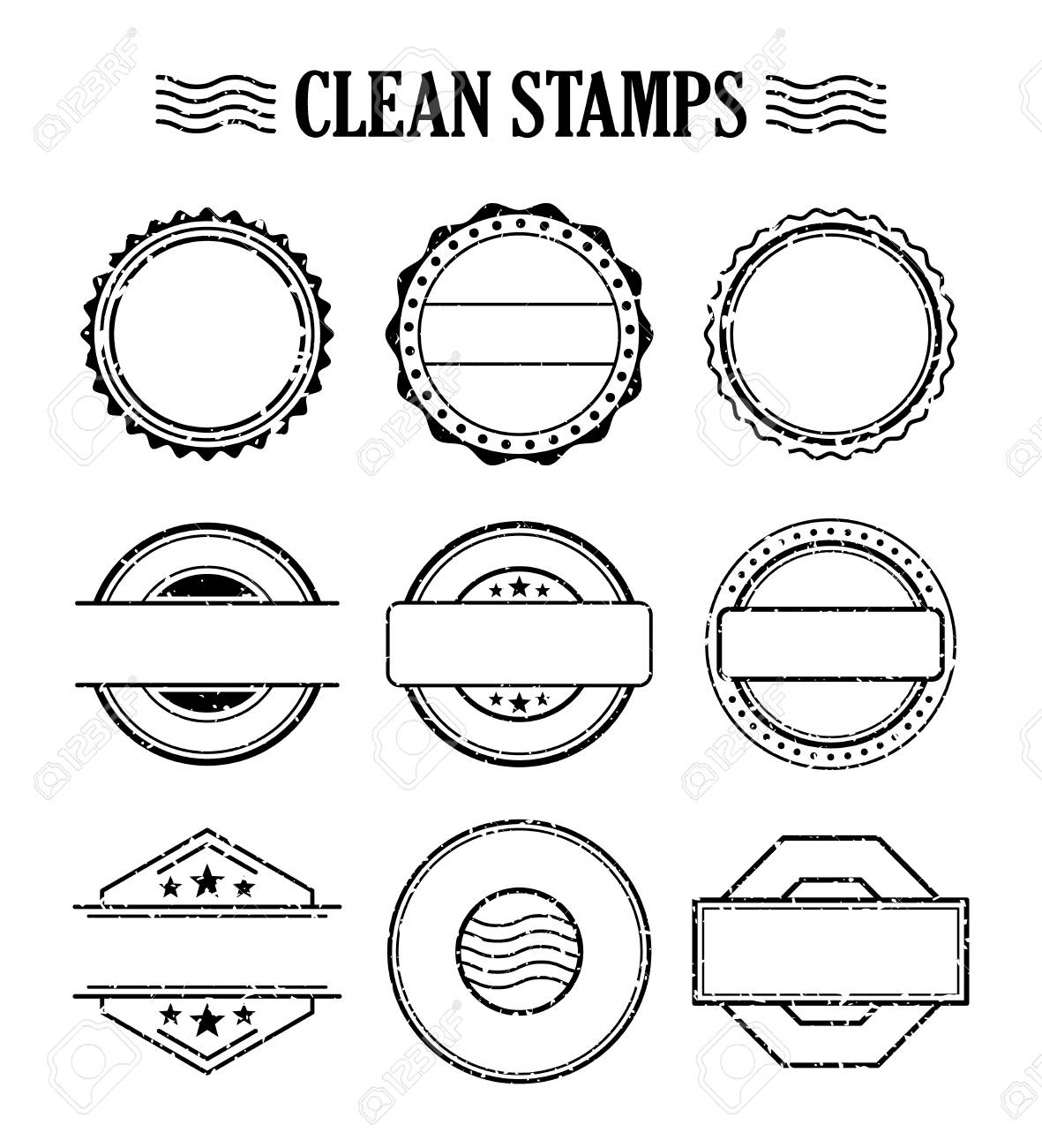 blank stamp set ink rubber seal texture effect postage and