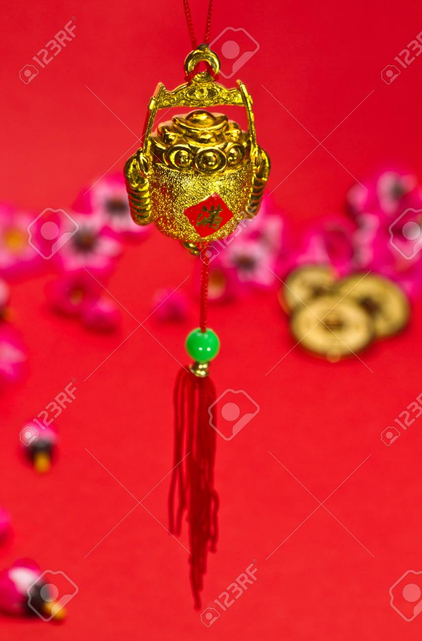 Chinese New Year ornament on red background Stock Photo - 11842162