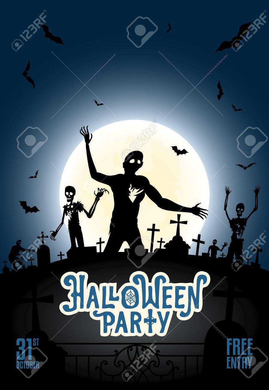 halloween party invitation template with zombies bats and the