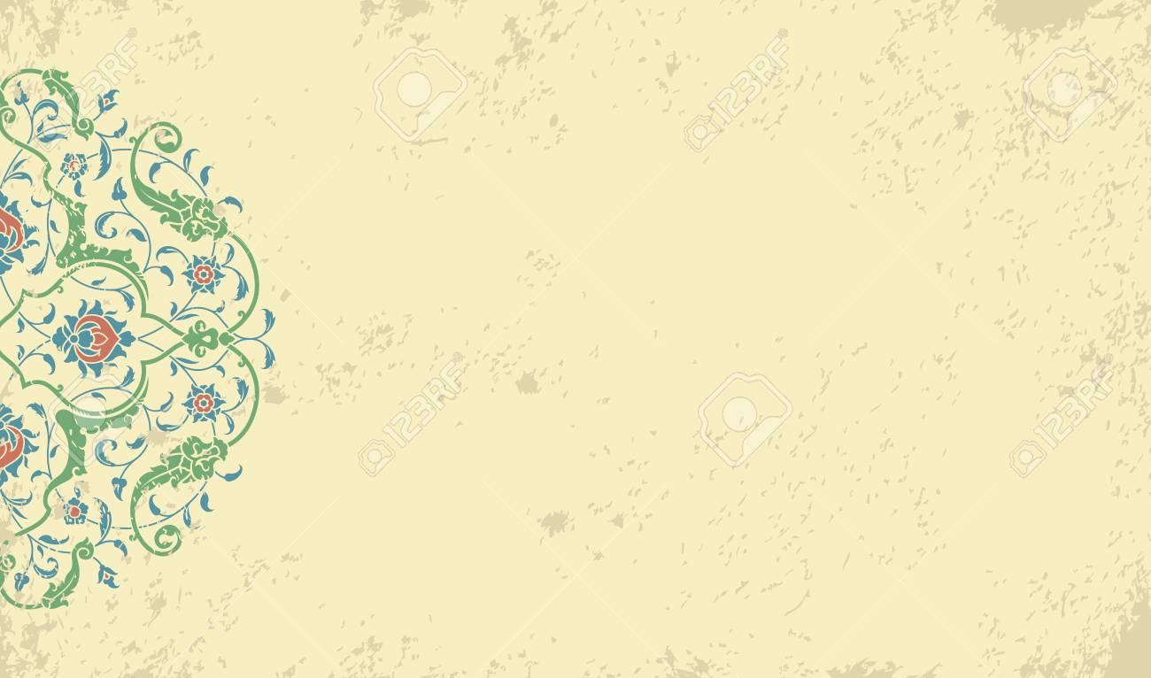 Invitation card with ethnic arabesque element old paper background invitation card with ethnic arabesque element old paper background with morocco ornament stock stopboris Images