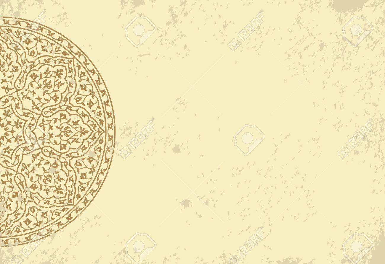 Invitation Card With Ethnic Arabesque Element Old Paper Background