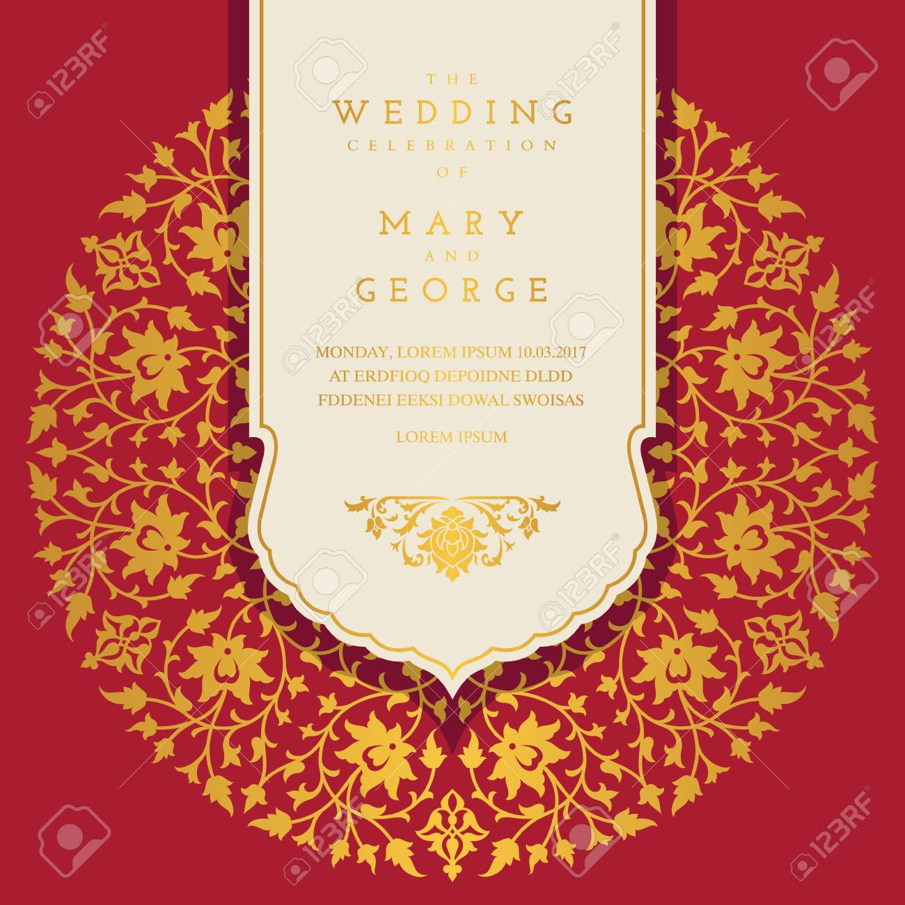 Vintage Wedding Invitation Card Template With Floral Background