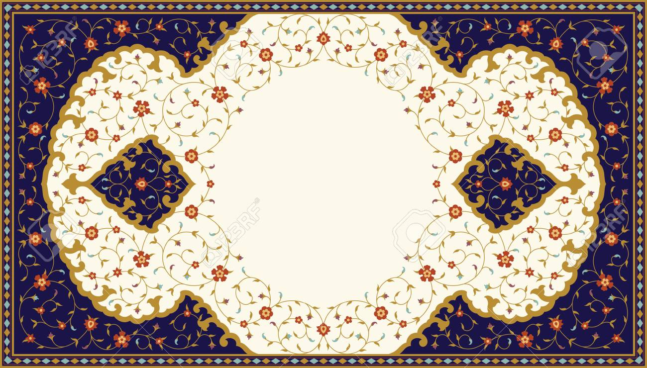 Arabic Floral Frame. Traditional Islamic Design. Mosque decoration element. Elegance Background with Text input area in a center. - 95901919