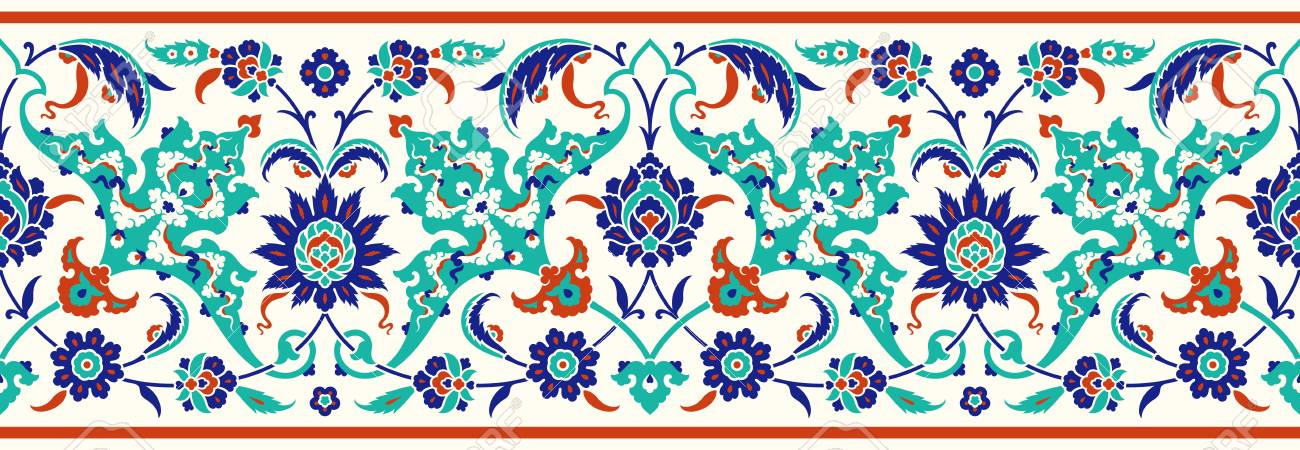 Floral border for your design. Traditional Turkish – Ottoman seamless ornament. Iznik. Vector background - 111590538