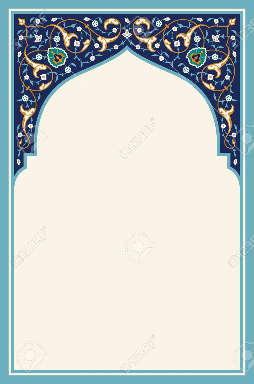 Islamic Floral Arch for your design. Traditional Arabic Background. Elegance Background with Text input area in a center. - 116237764