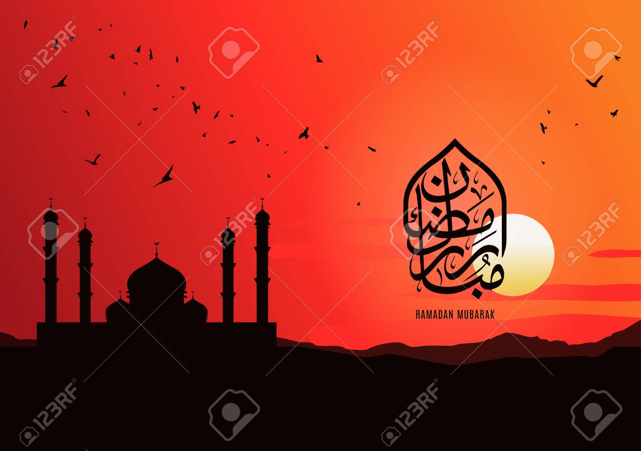 Islamic design greeting card template  Mosque silhouette on a