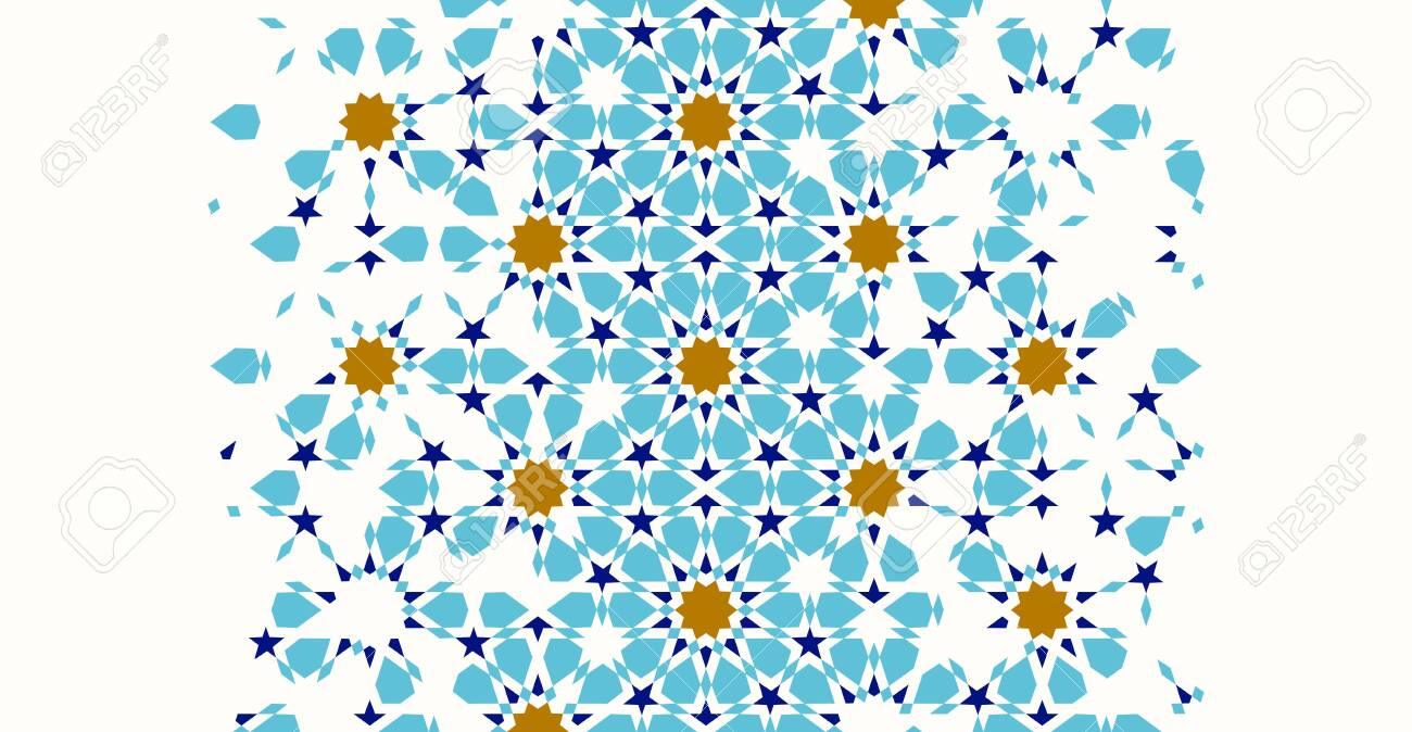 Morocco disintegration template based on geometric islamic mosaic design. Tile repeating vector border. Abstract background. - 119955760