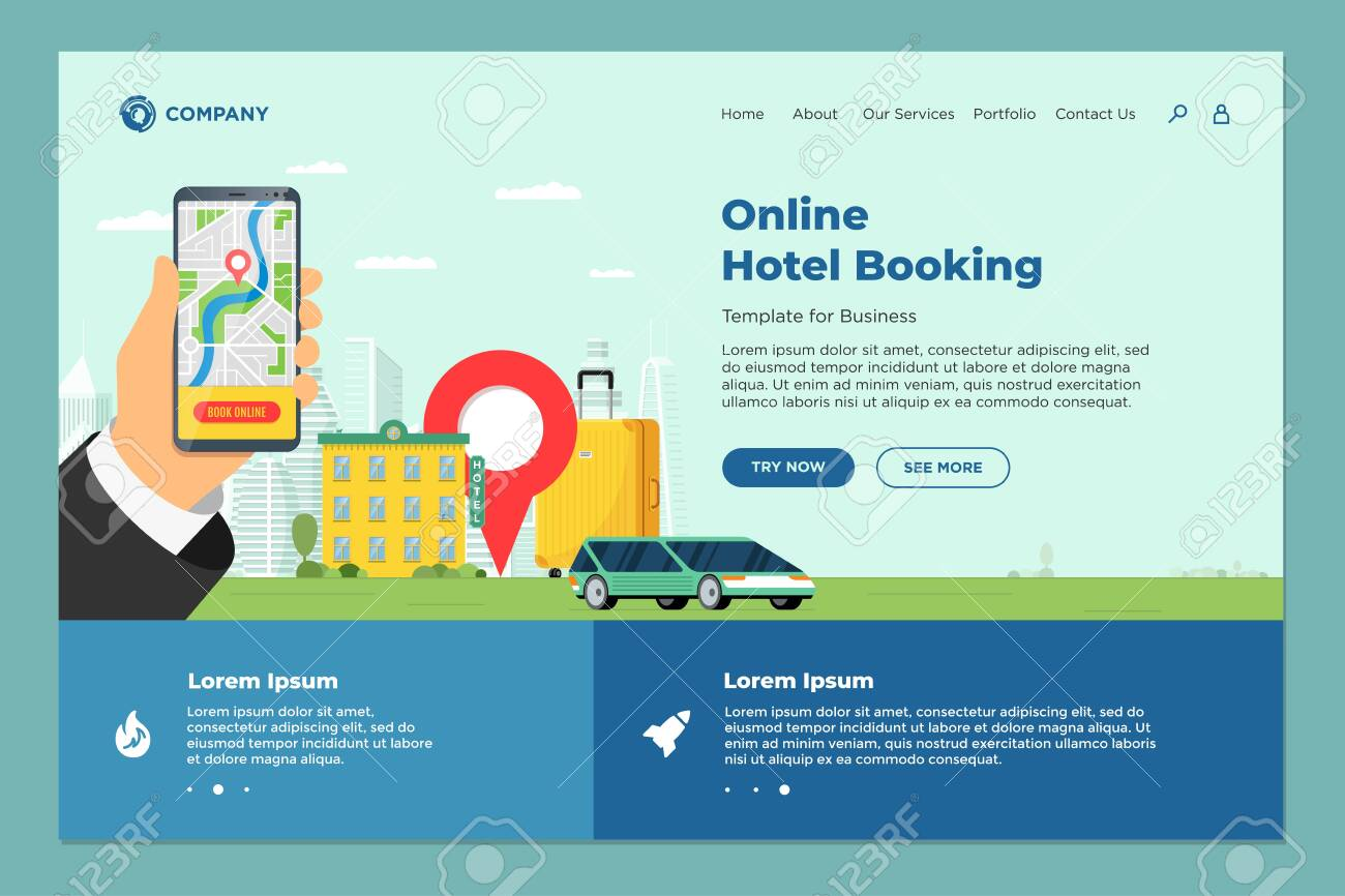 Hotel online booking service for vacation tourism landing page..