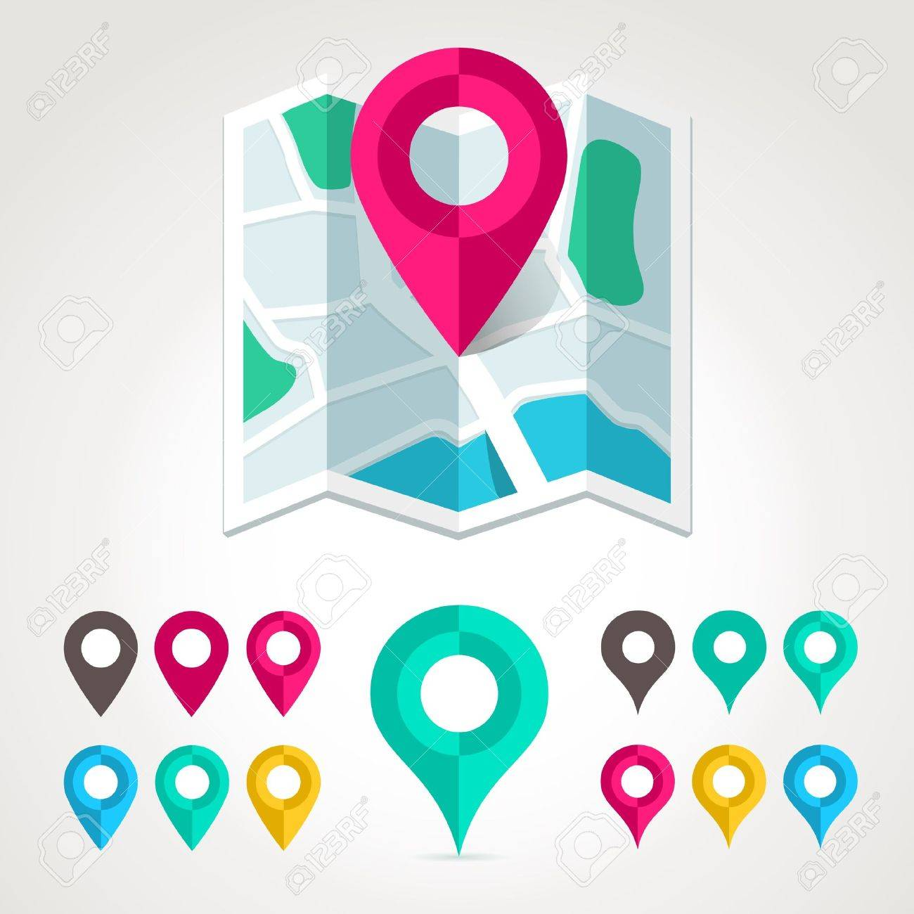 Map markers and flat map icon Stock Vector - 20464276