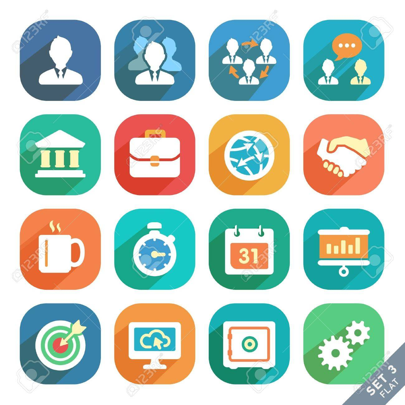 Office and business Flat icons for Web and Mobile Applications. Stock Vector - 20752370