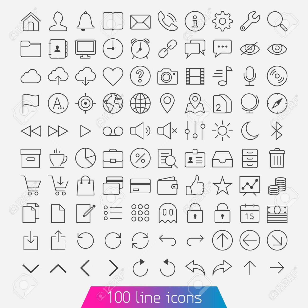 Linie 100 Icon Set Trendy Dünn Und Einfache Symbole Für Web Und ...