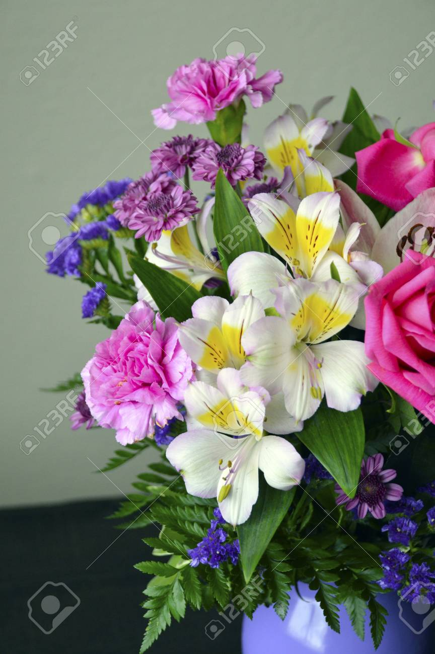 Colorful bouquet of flowers roses lilies carnations stock photo colorful bouquet of flowers roses lilies carnations stock photo 40330091 izmirmasajfo