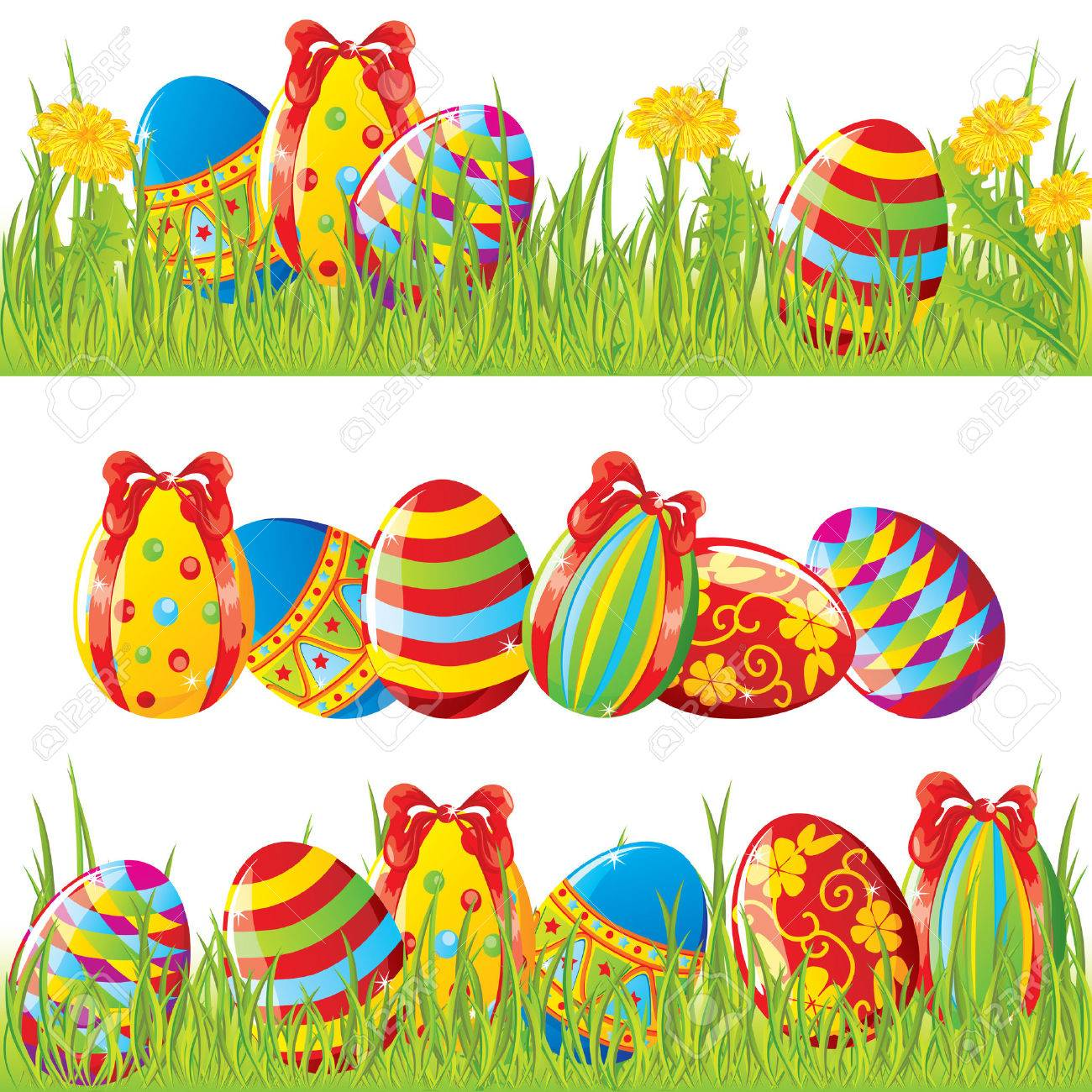 Easter Borders With Painted Eggs Stock Vector