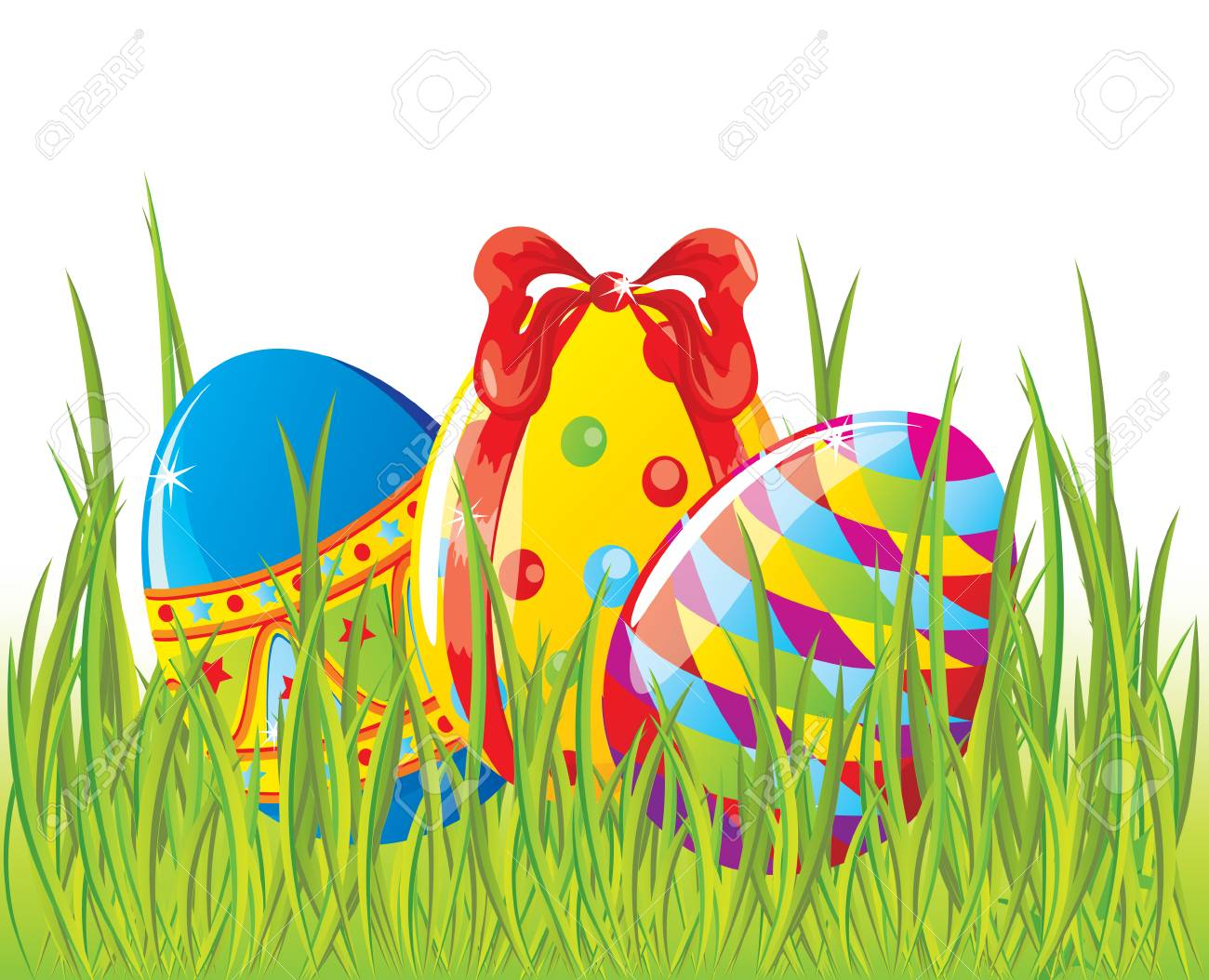 Easter painted eggs in grass Stock Vector - 8976290