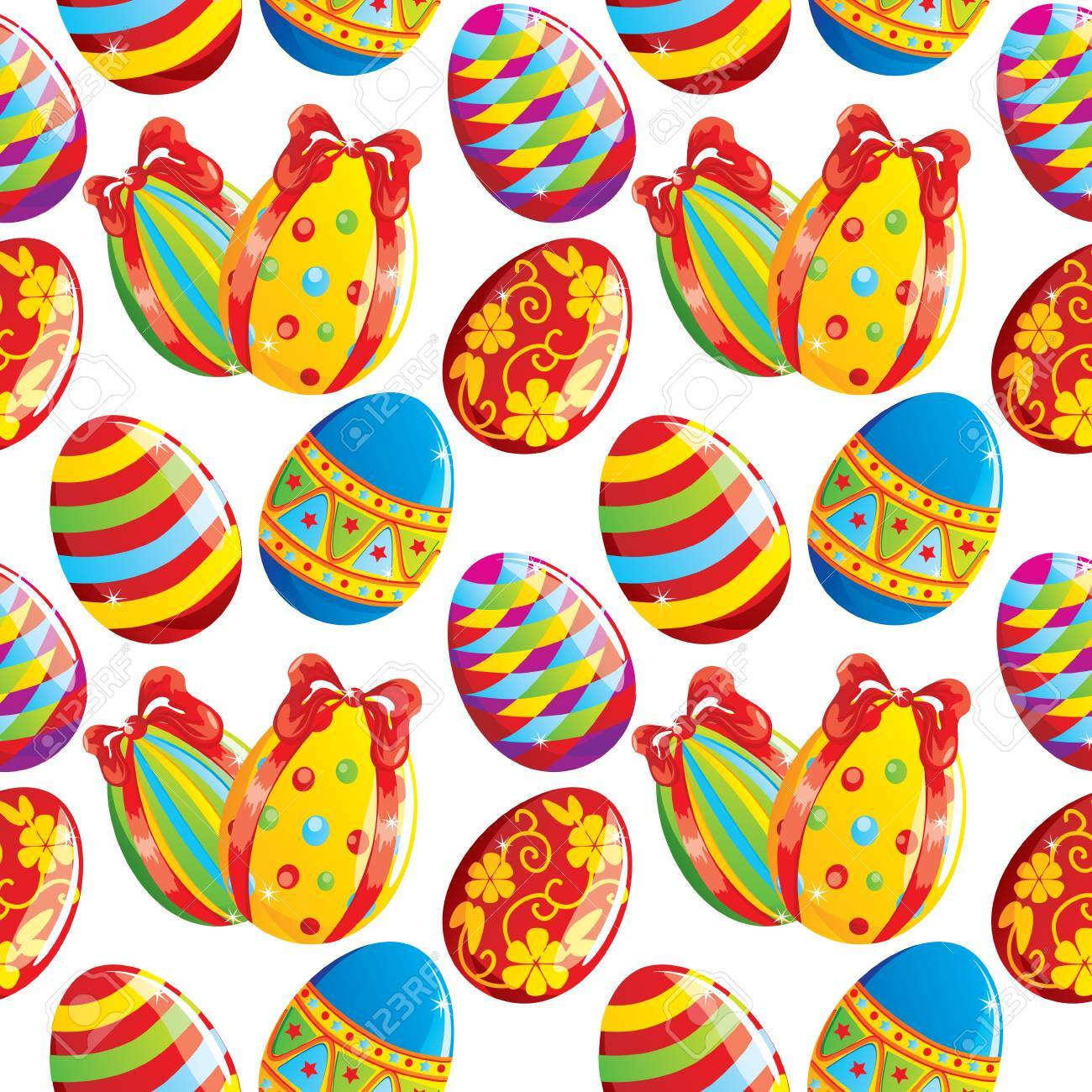 Seamless Easter background with painted eggs on white, vector Stock Vector - 8976300