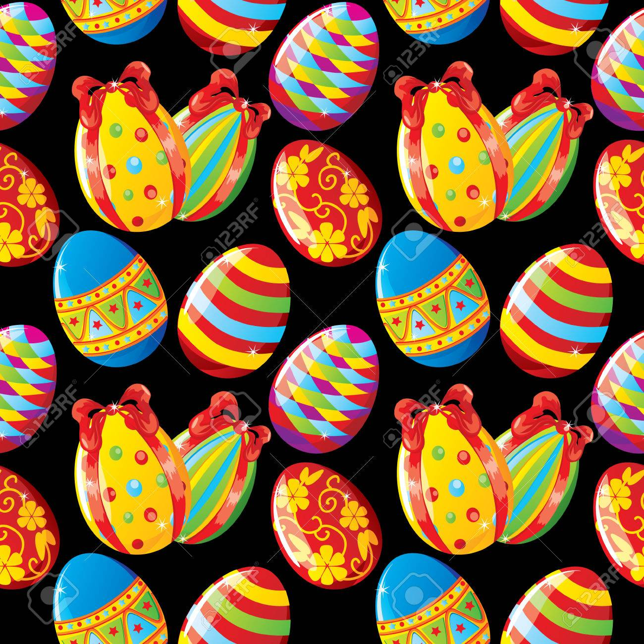 Seamless Easter background with painted eggs on black Stock Vector - 8976302
