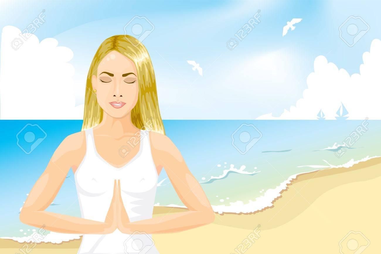 Girl meditating on the beach Stock Vector - 19316096