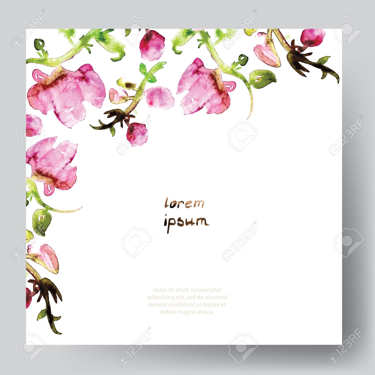 Watercolor vector template with pink flowers save the date watercolor vector template with pink flowers save the date wedding easter birthday pronofoot35fo Image collections