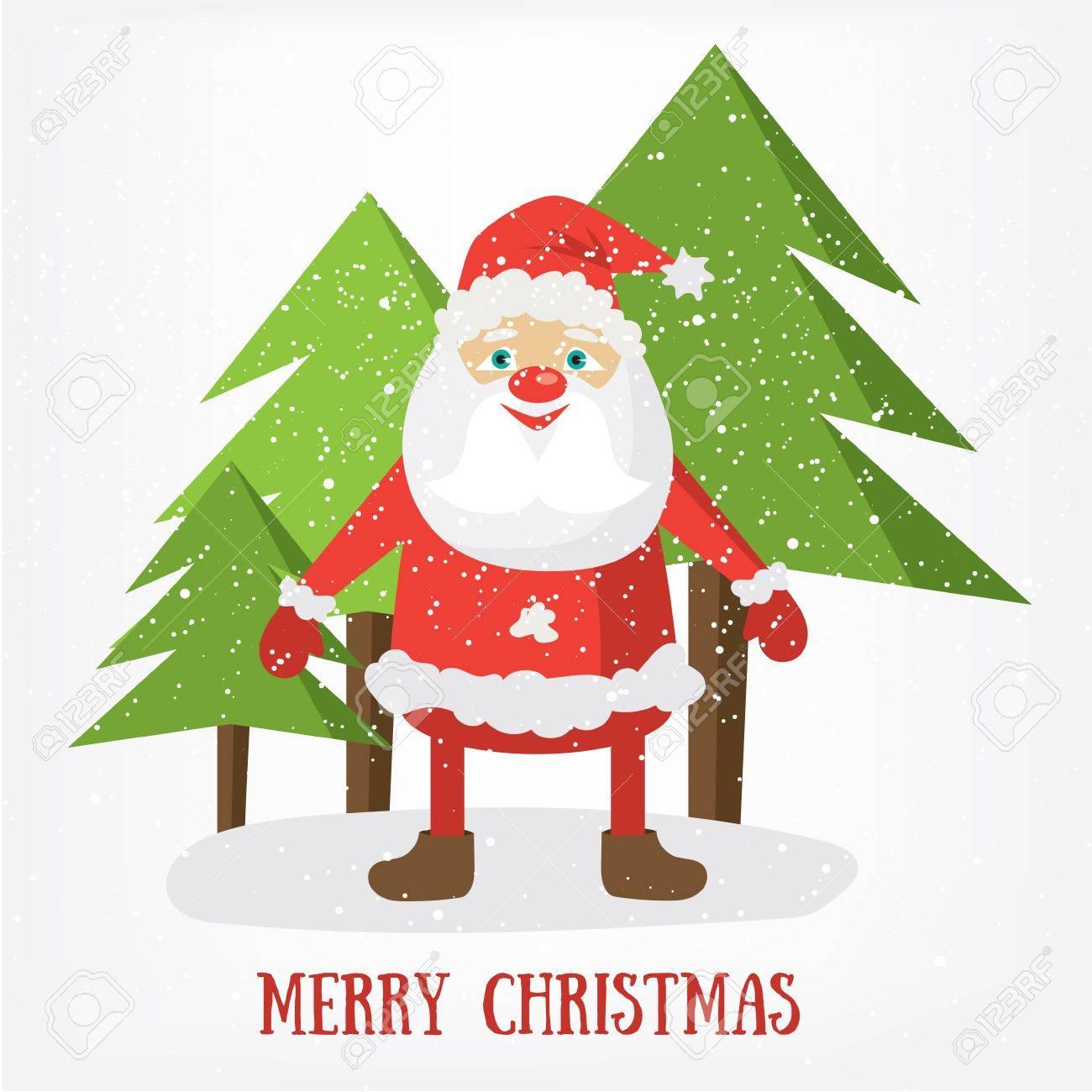 Plantilla De Tarjeta Postal De Feliz Navidad. Ilustración Vectorial ...