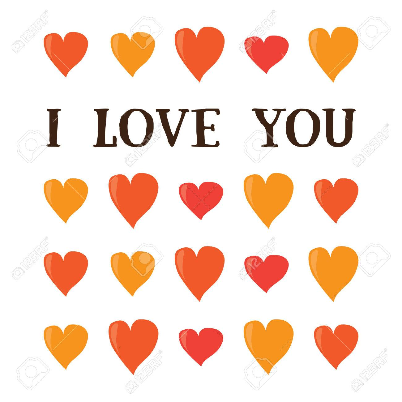 I Love You. Cartoon Valentines Day Romantic Greeting Card Template ...