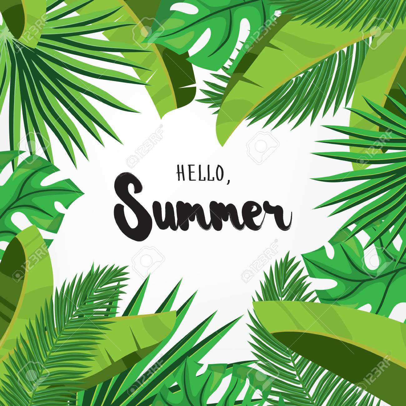 Hello, Summer. Holiday Greeting Card With Tropical Palm Leaves And  Calligraphy Elements. Handwritten