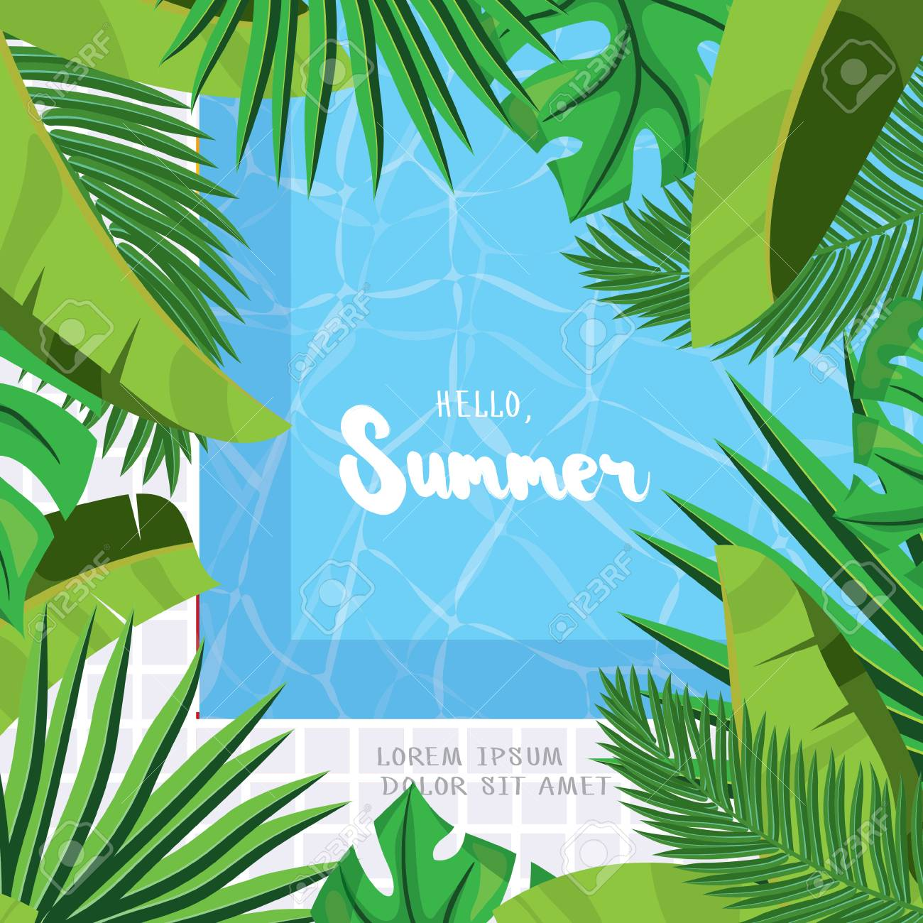 Hello, Summer. Holiday Greeting Card With Tropical Palm Leaves,swimming  Pool And Calligraphy