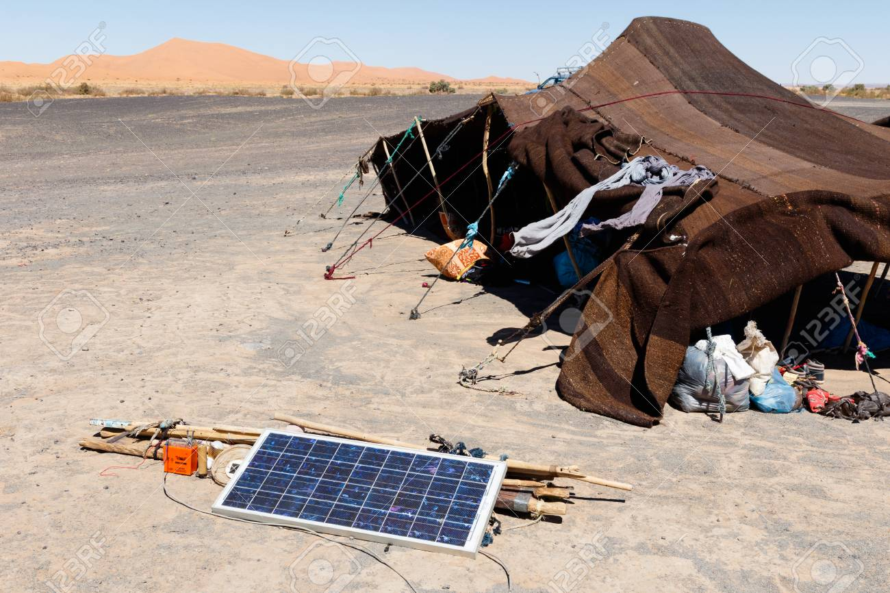 Nomad tent in the Moroccan desert with solar panel