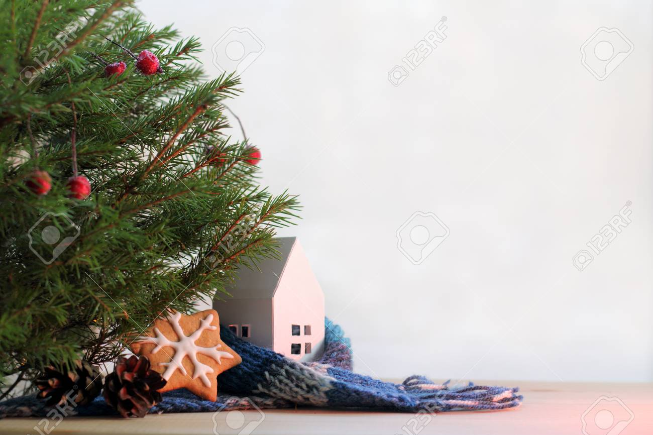 Idea Of Warm Home With A Christmas Tree And Ginger Cookies /.. Stock ...