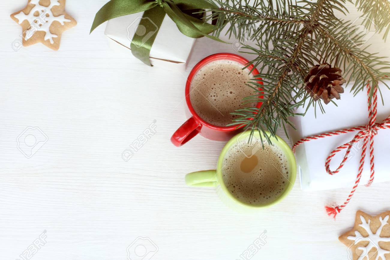 Christmas Tree Top View.Coffee With Milk Gifts And Baking Under A Christmas Tree Top