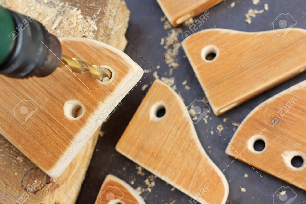 Drilling Holes In Wooden Work Pieces Carpentry Workshop Work Stock