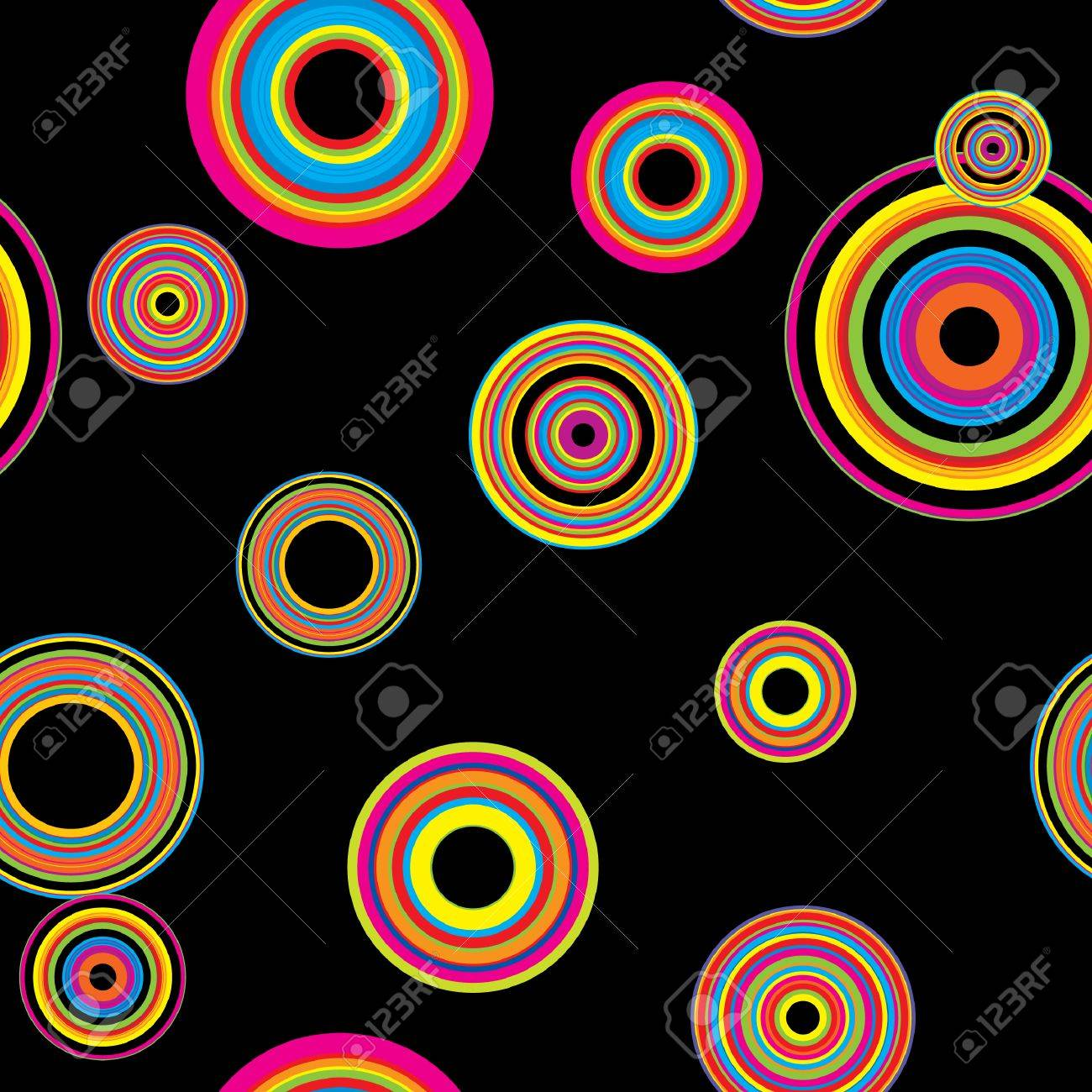 seamless background made of multicolored circles at retro disco style on a black Stock Vector - 3633882