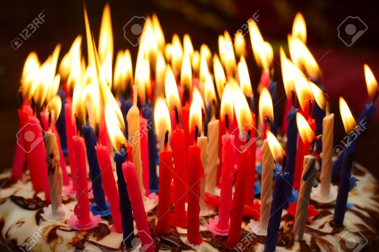 Awesome Birthday Cake With The Lot Of Burning Candles Stock Photo Picture Funny Birthday Cards Online Hendilapandamsfinfo