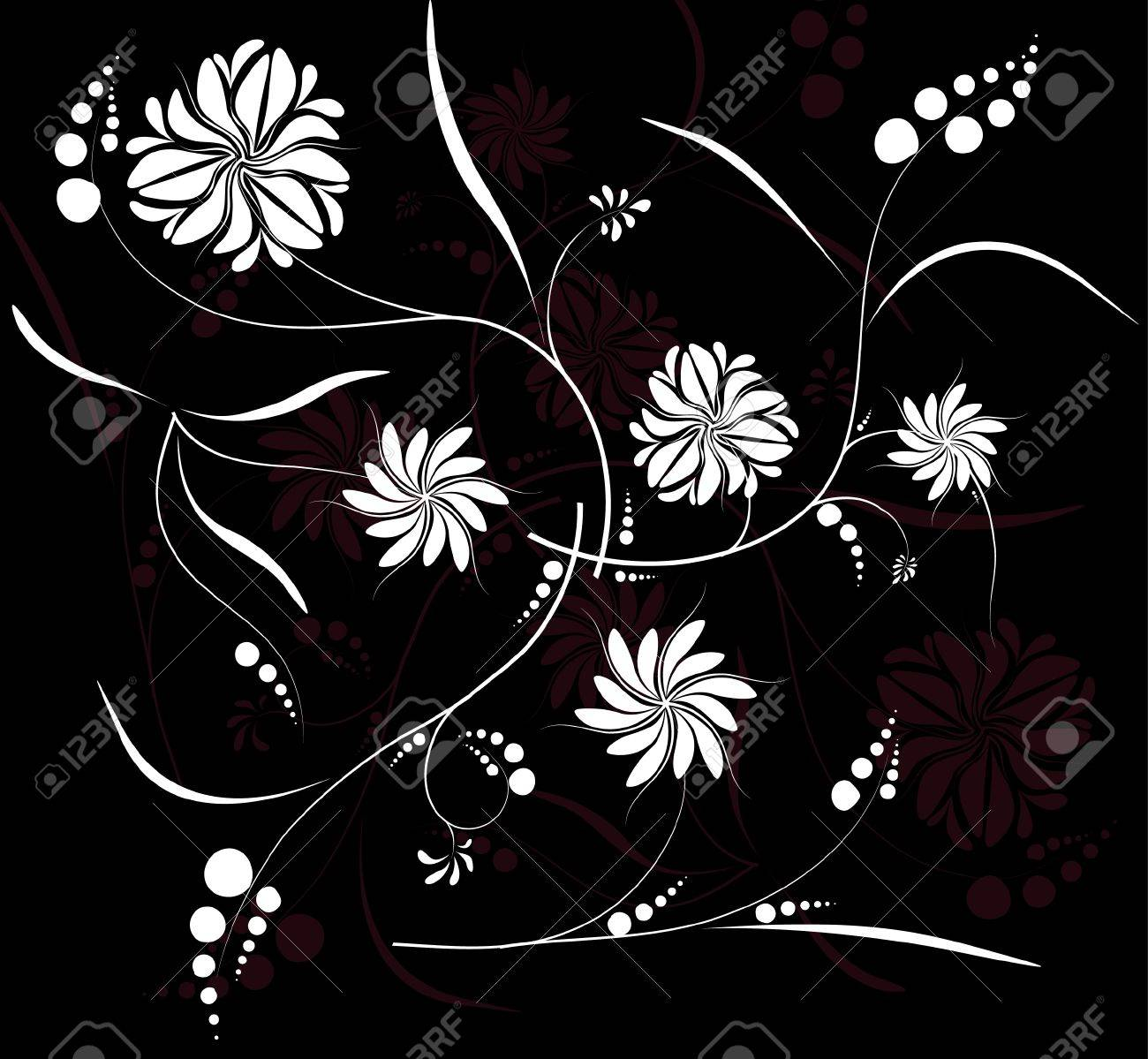 floral background at the black, white and dark red tones Stock Vector - 9093184