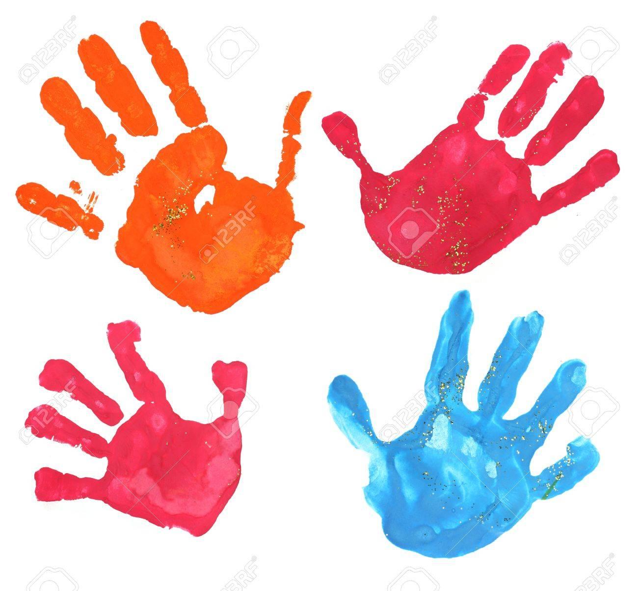 Mehreren Bunten Kindern Fingerabdrucke Auf Einem Weissen Lizenzfreie